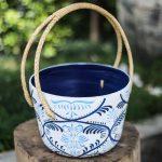 Blue decorative Thai basket handmade