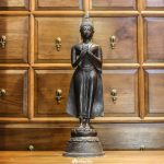 Standing Buddha statue from Thailand cast in bronze