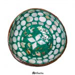 Thai coconut shell bowl with hand-painted colorful interior design