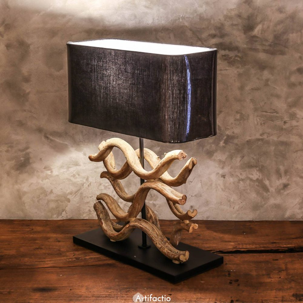 Handmade Thai table lamp made from vines