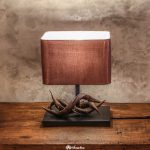 Handmade Thai table lamp made from vines with kudu horn design