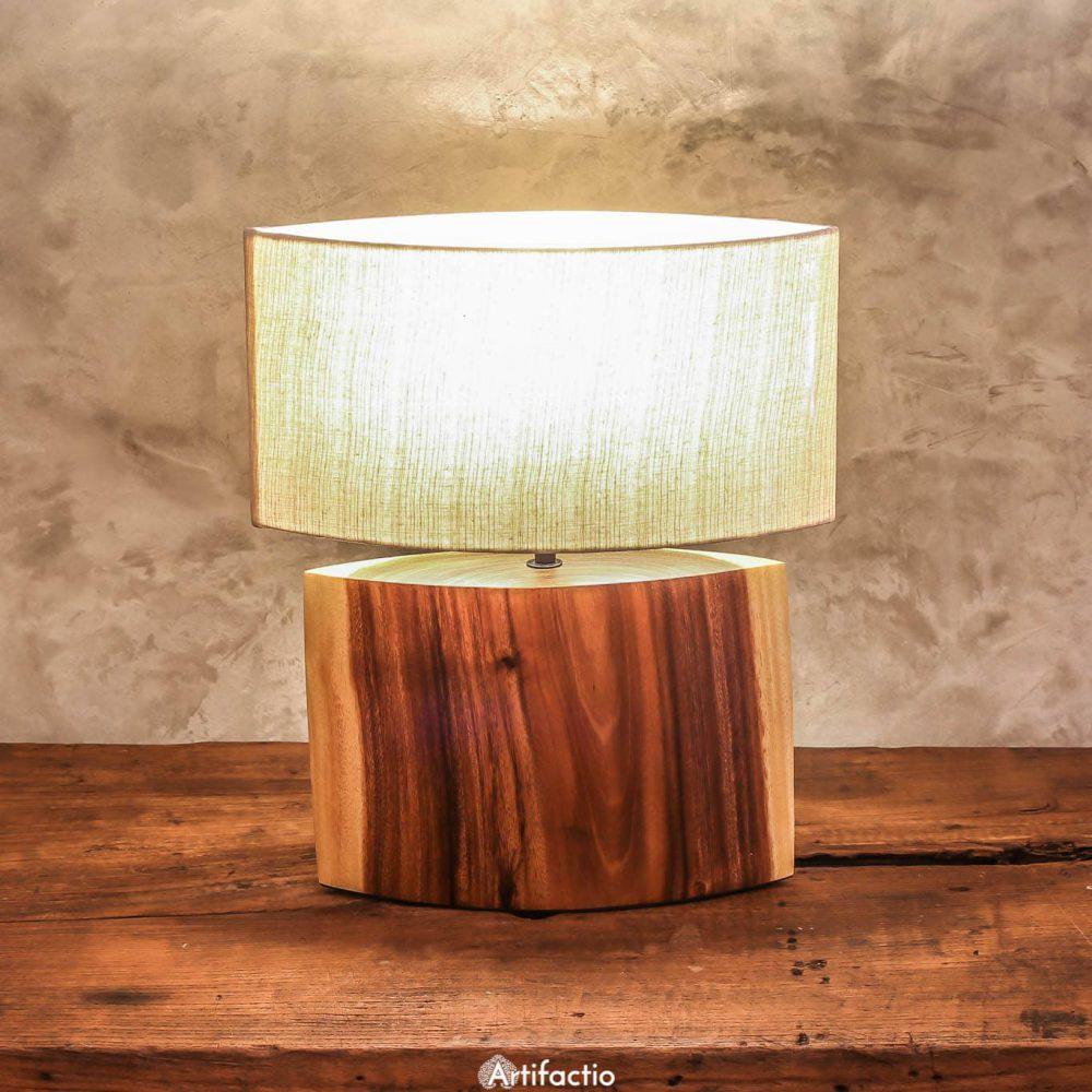 Handmade Thai table lamp made from acacia wood.