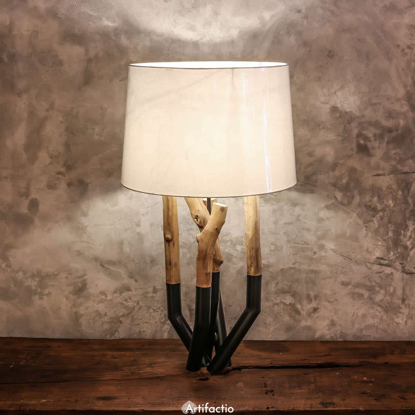 Unique Handmade Metal And Driftwood Table Lamp O Artifactio