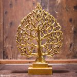 Gold ornamental relief panel depicting Bodhi tree