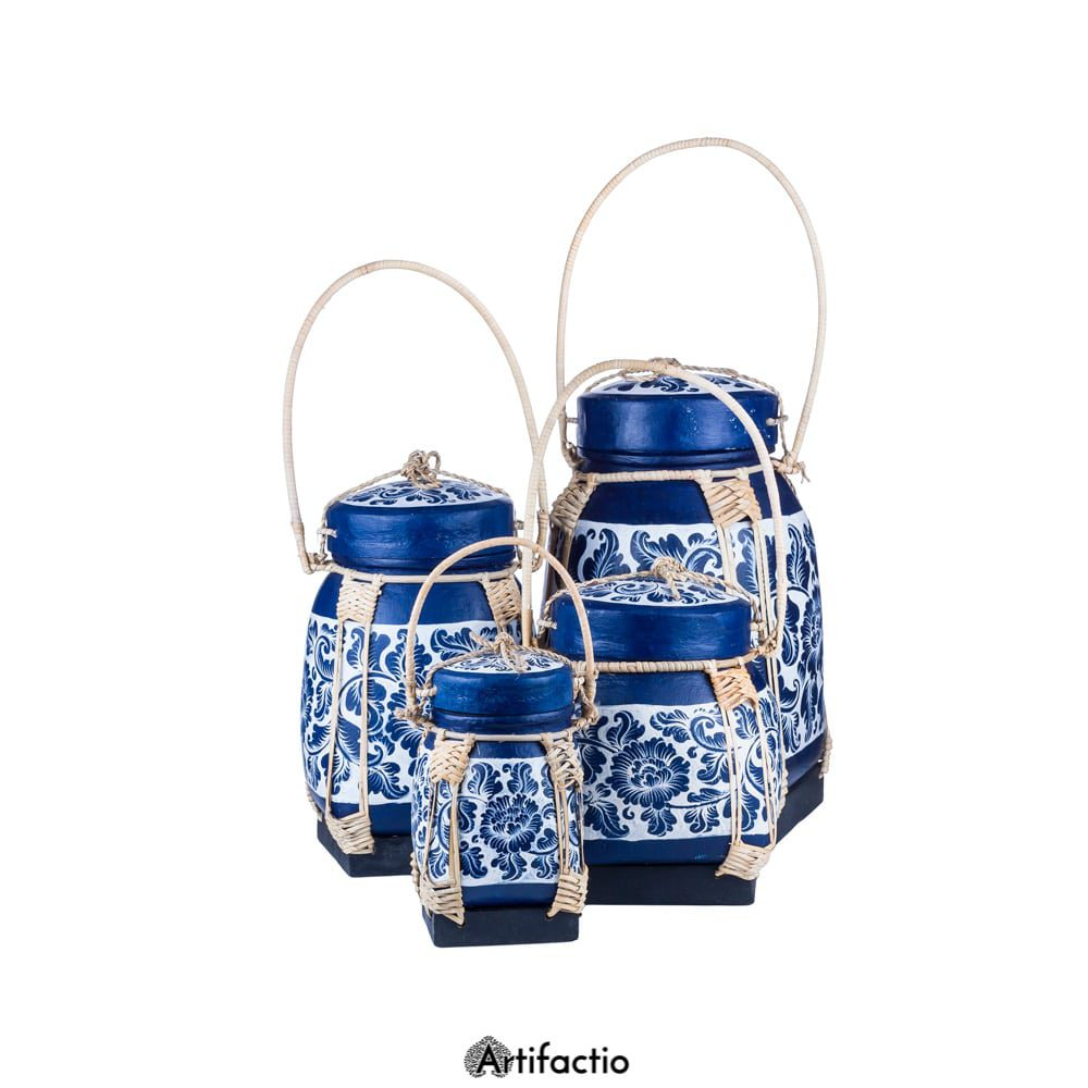 Blue and white decorated Thai rice box.