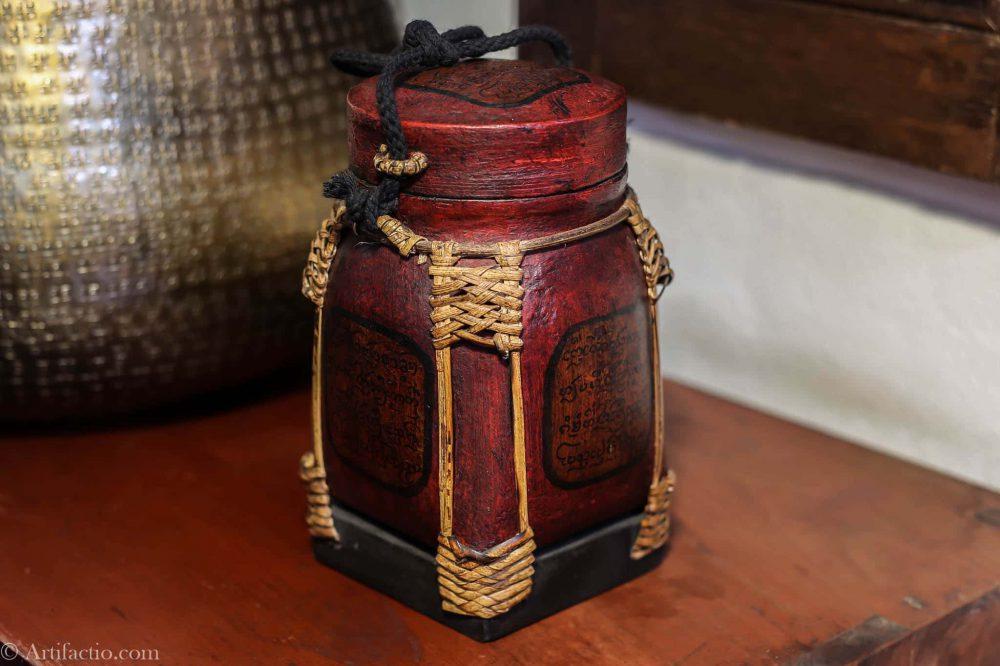 Red antigue inscription design Thai rice box hand made