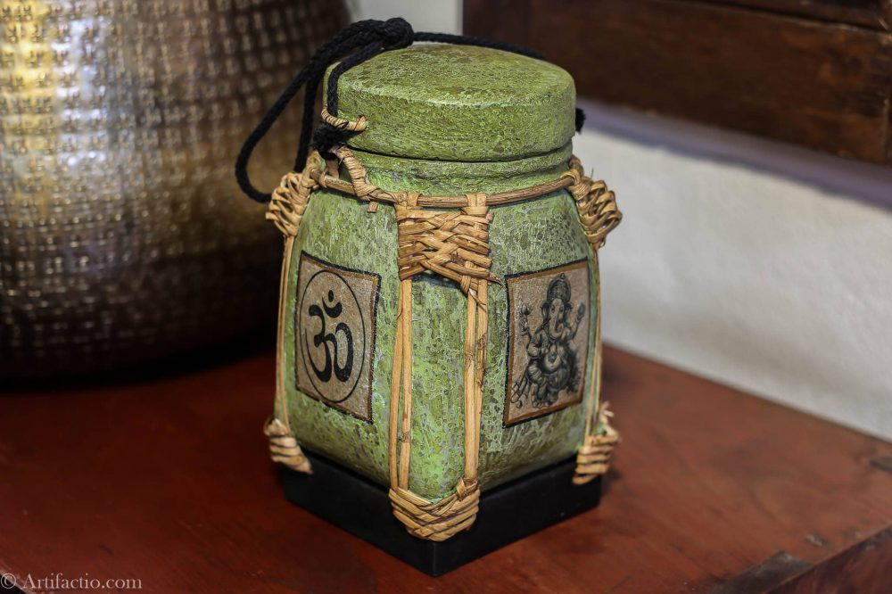 Green Ganesh design Thai rice box hand made