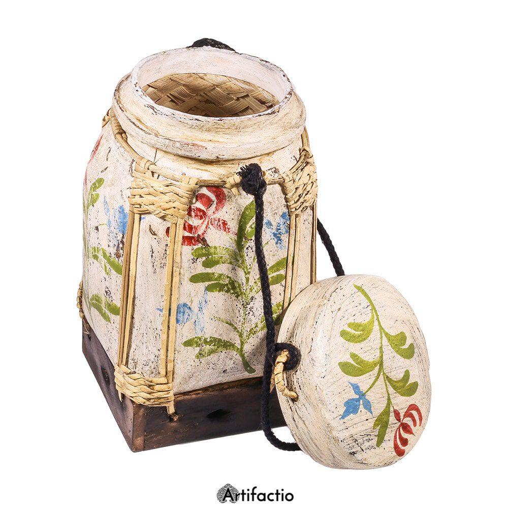 White Thai rice box with floral design