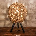 Handmade Thai table lamp made from driftwood.