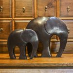 Brass statues of elephant pair from Thailand