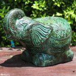 Clay elephant statue garden ornament