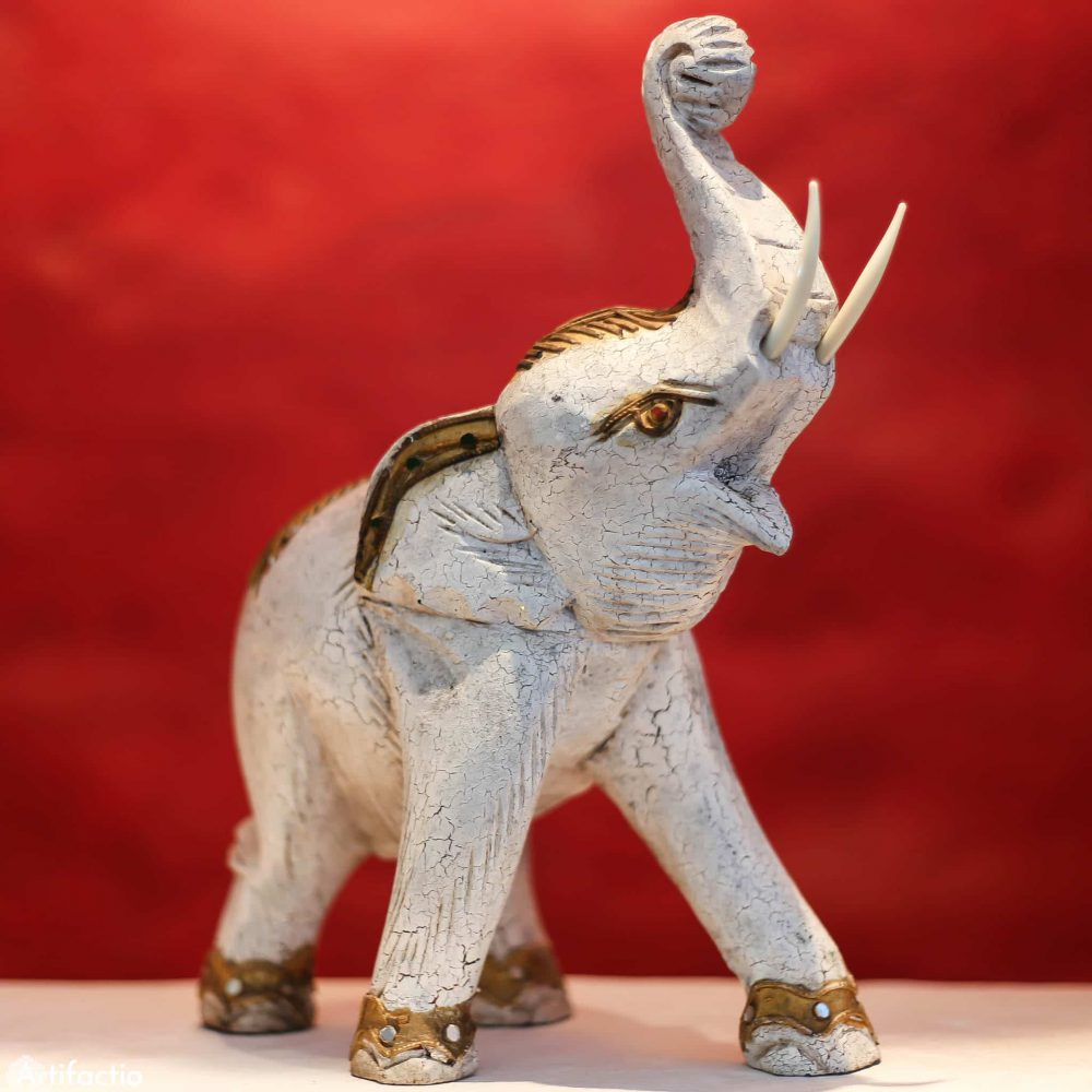 Hand-carved wood elephant statue from Thailand