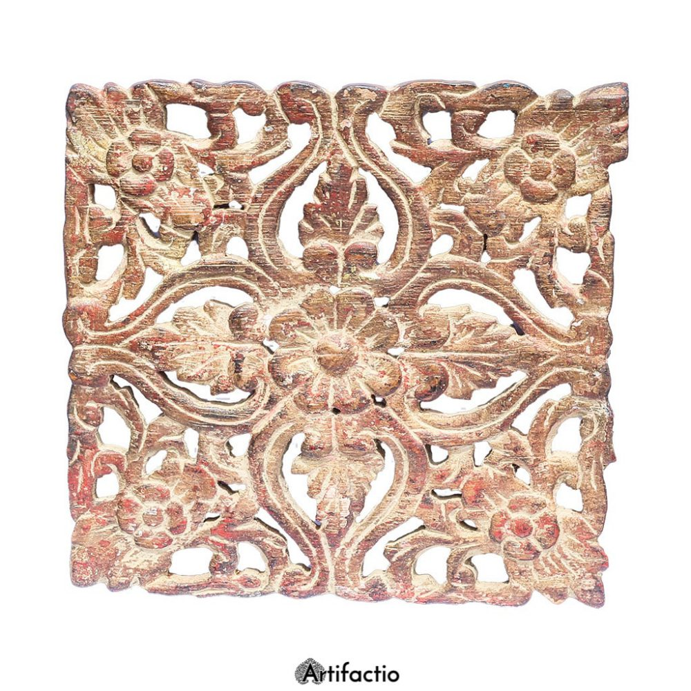 Small decorative floral wall panel in reclaimed teak