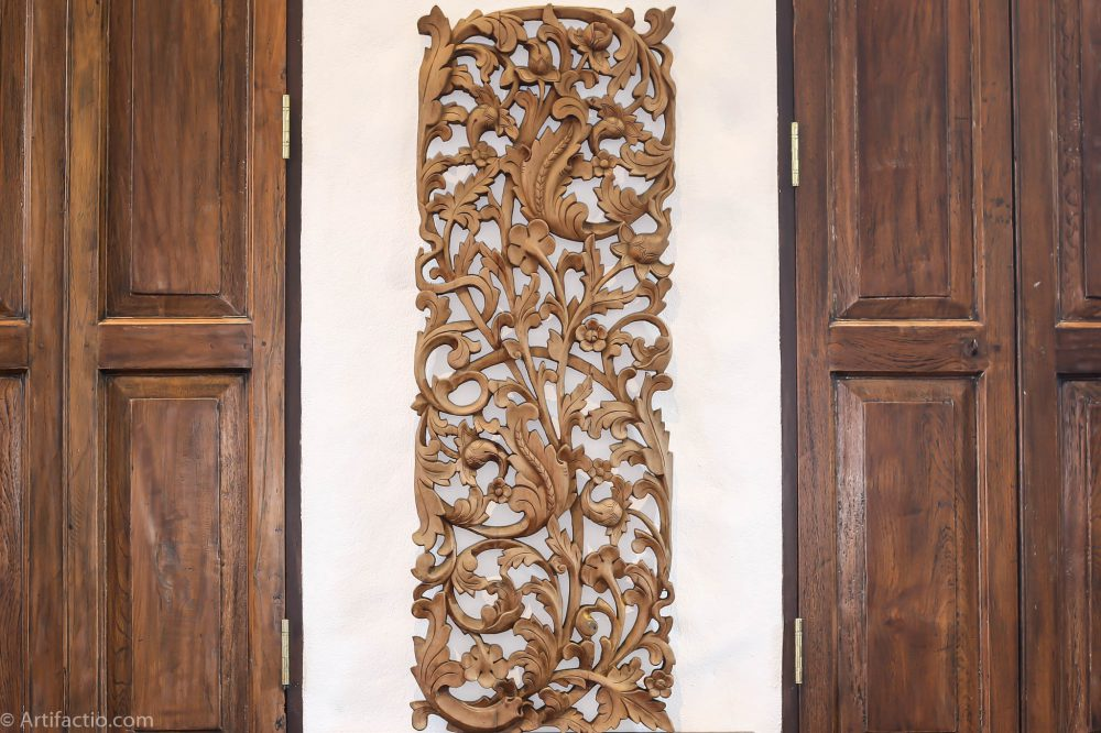 Brown floral wood panel