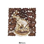 Teak wall panel gilded elephant from Thailand