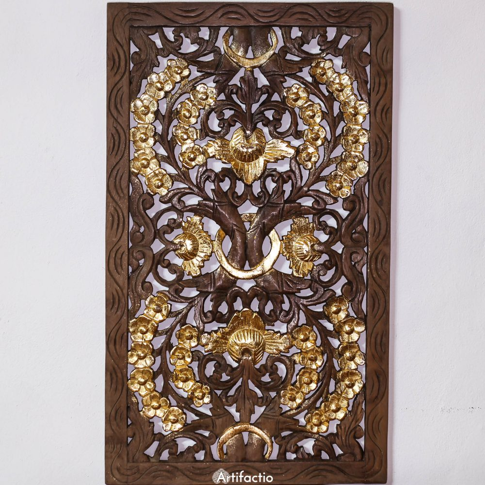 Floral design teak wall panel Thailand