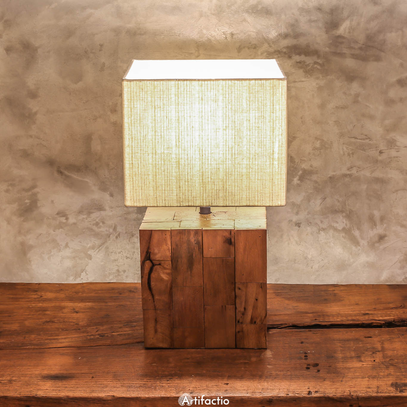 handmade table lamp of reclaimed wood in brown artifactio. Black Bedroom Furniture Sets. Home Design Ideas