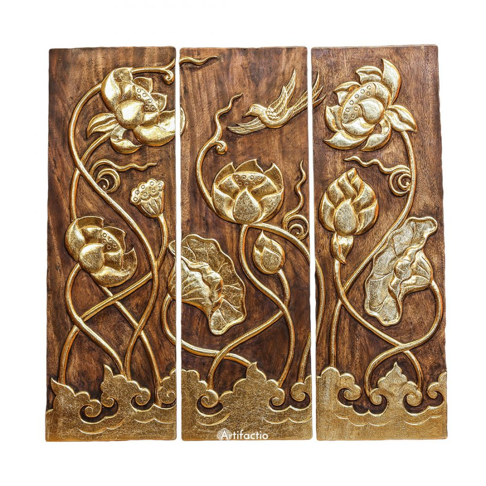 Unique Hand Carved Gold Inlay Teak Panels With Lotus Flowers