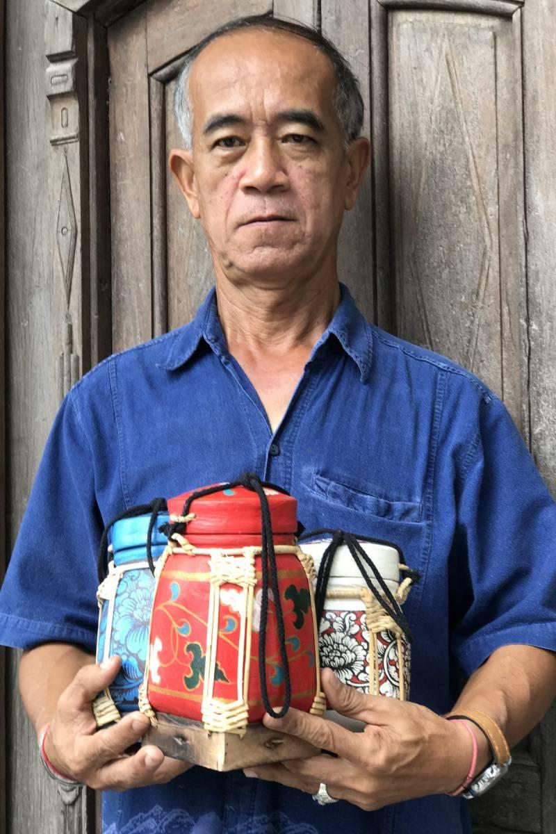 Thai artisan making a rice box